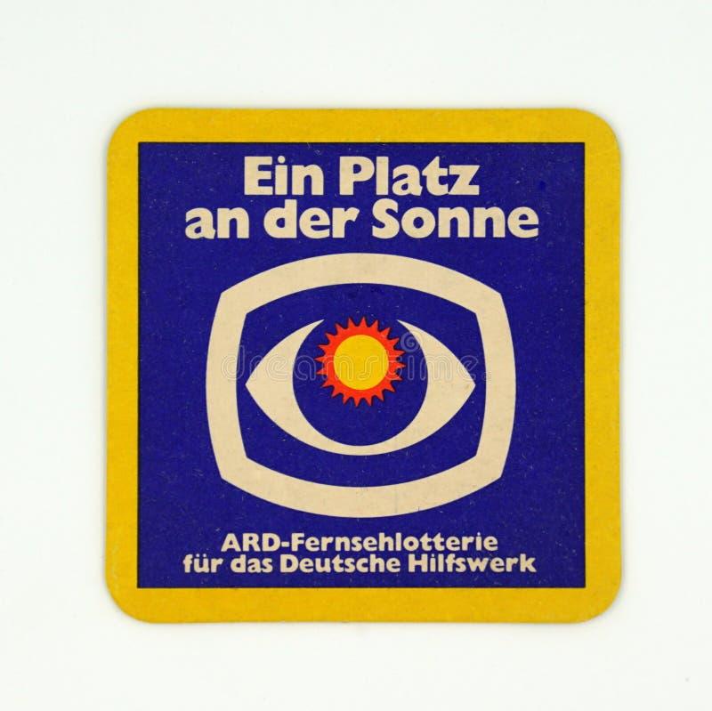 德国公共广播联盟啤酒席子或沿海航船 免版税库存照片