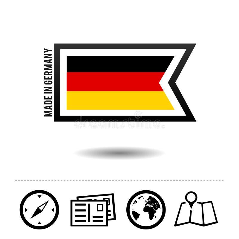德国制造与旅行象的旗子 Eps10向量 皇族释放例证