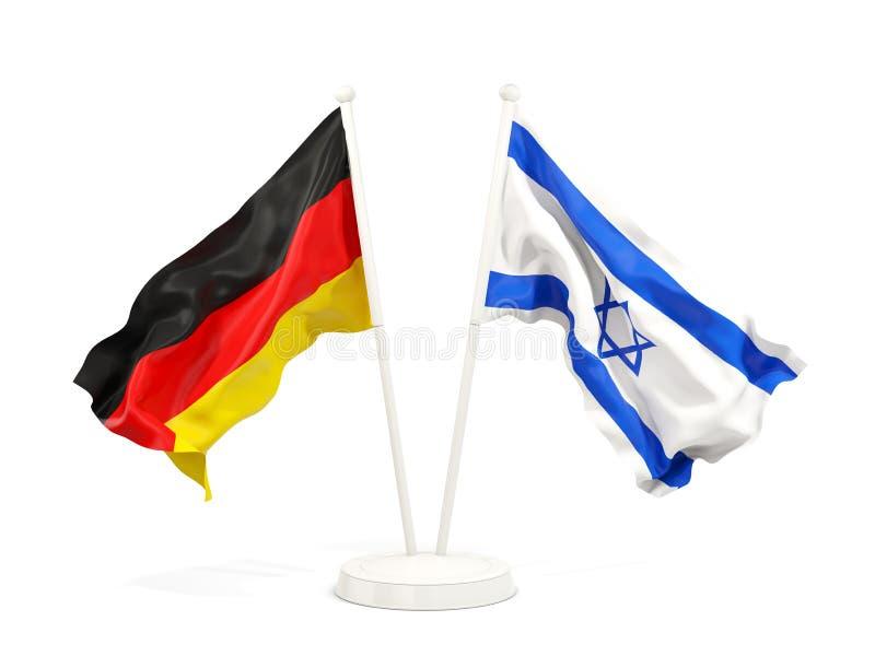 德国和以色列的两面挥动的旗子 向量例证