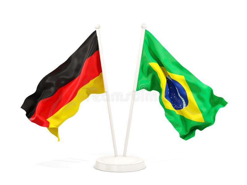 德国和巴西的两面挥动的旗子 皇族释放例证