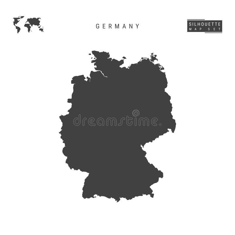 德国在白色背景隔绝的传染媒介地图 德国的高详细的黑剪影地图 库存例证
