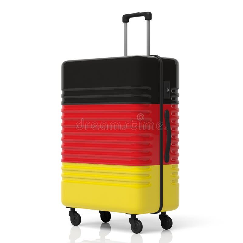 德国在白色背景隔绝的旗子手提箱 3d例证 向量例证