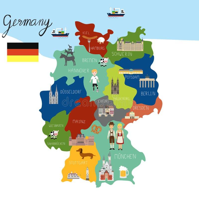 德国地图手凹道传染媒介 库存例证