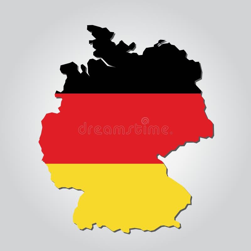德国地图旗子 库存例证