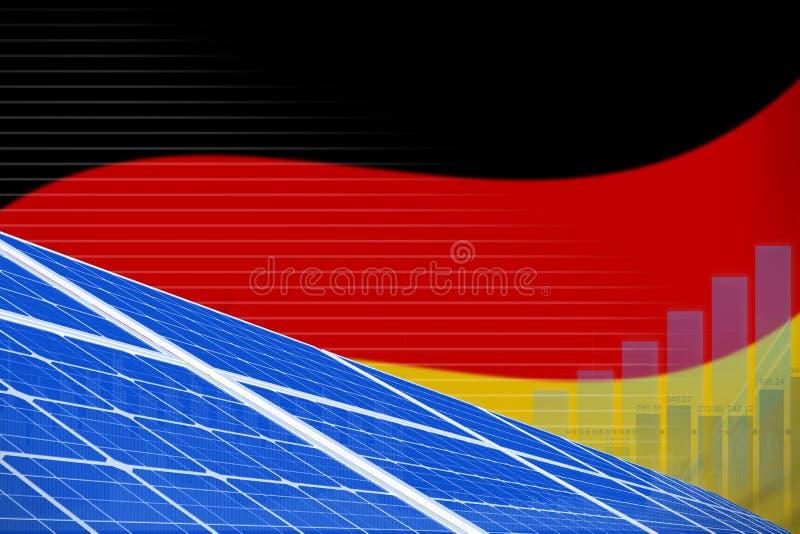 德国太阳能力量数字图表概念-可更新的自然能工业例证 3d例证 向量例证