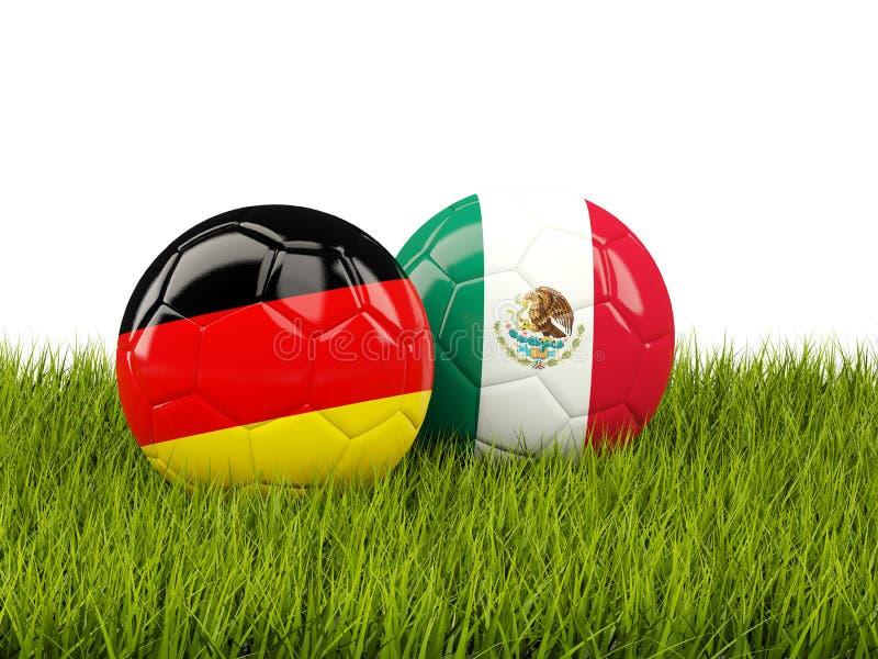 德国对墨西哥 球特写镜头概念穿上鞋子足球体育运动 与旗子的橄榄球在绿色 皇族释放例证