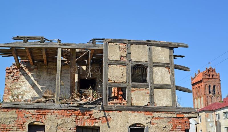 德国建筑的公寓的废墟 Zheleznodorozhny,加里宁格勒地区 免版税库存图片