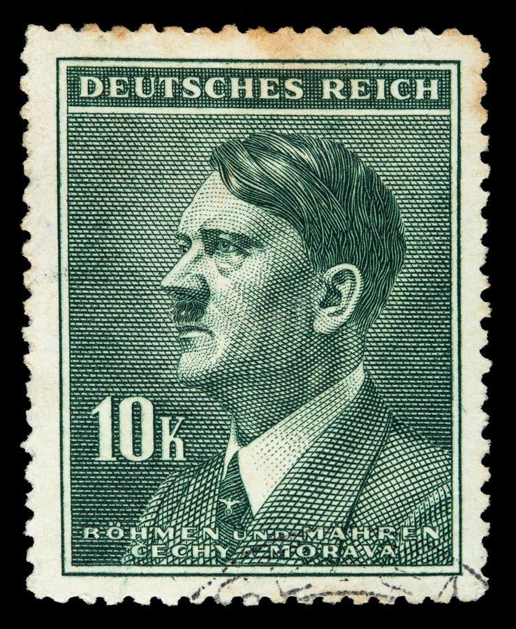 德国德国政府 大约1939年- c 1944年:与刻画的邮票阿道夫・希特勒 库存照片