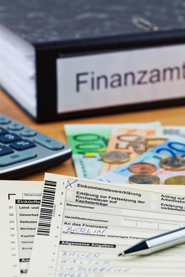 德国收入回归税务 库存图片