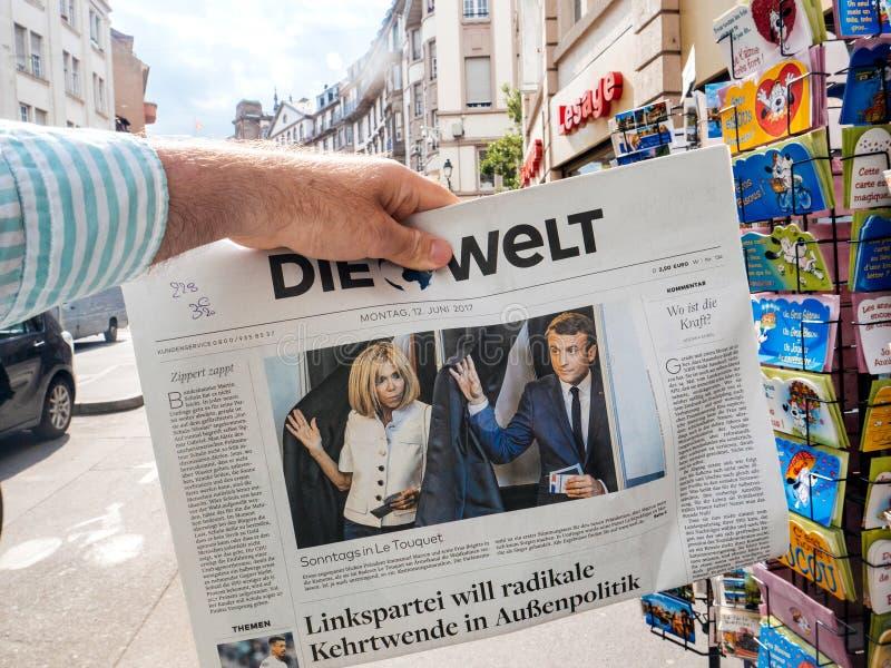 德国新闻反应对法国立法大选2017年 图库摄影