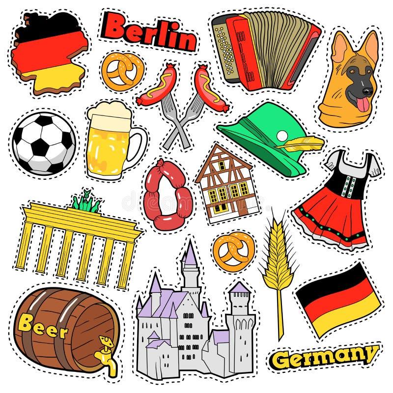 德国旅行剪贴薄贴纸、补丁、徽章印刷品的用香肠,旗子、建筑学和德国元素 皇族释放例证