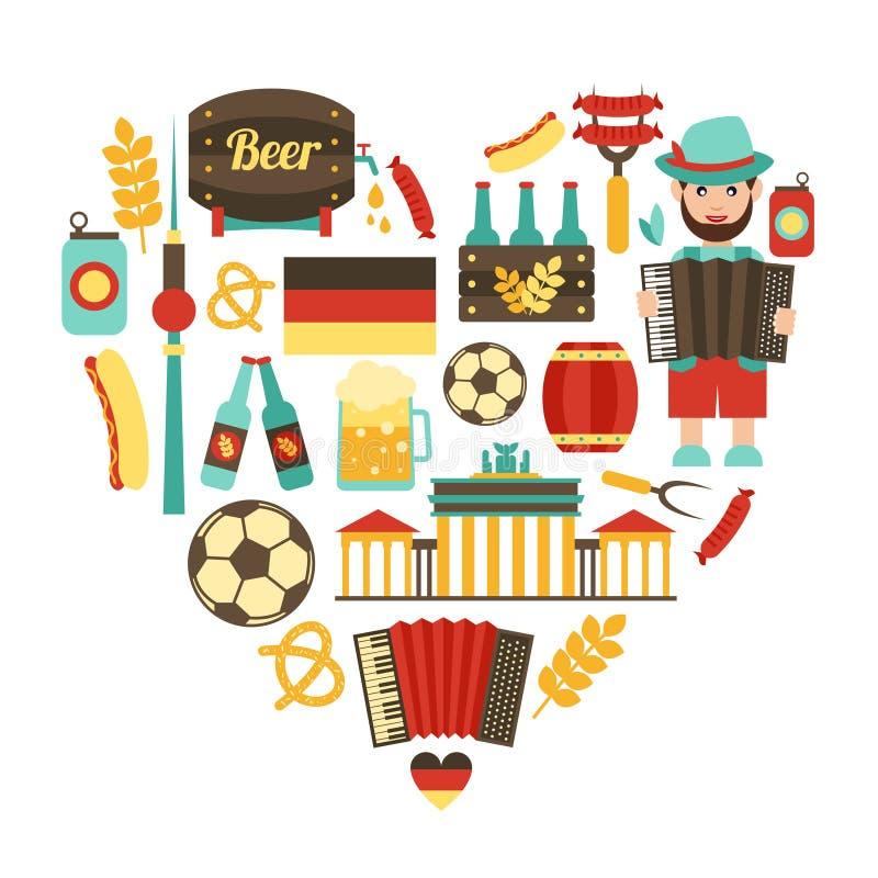 德国旅行心脏集合 库存例证