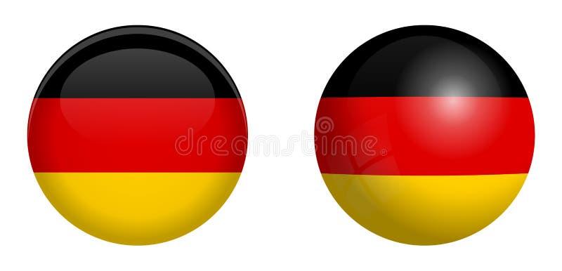 德国旗子在3d圆顶按钮下和在光滑的球形/球 向量例证