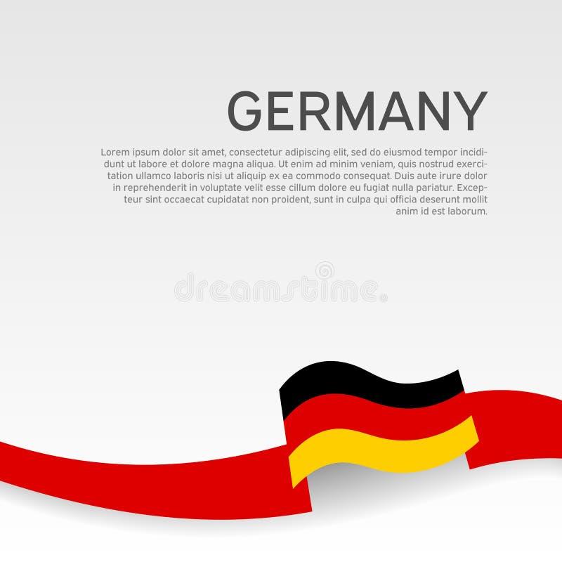 德国旗子背景 在德国旗子的颜色的波浪丝带在白色背景的 全国海报 传染媒介三色设计 库存例证