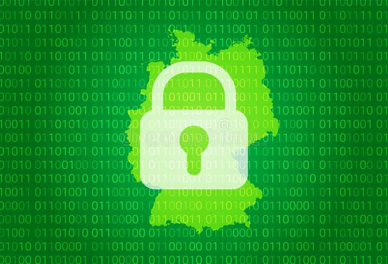 德国映射 例证有锁和二进制编码背景 阻拦的互联网,病毒攻击,保密性保护 向量例证