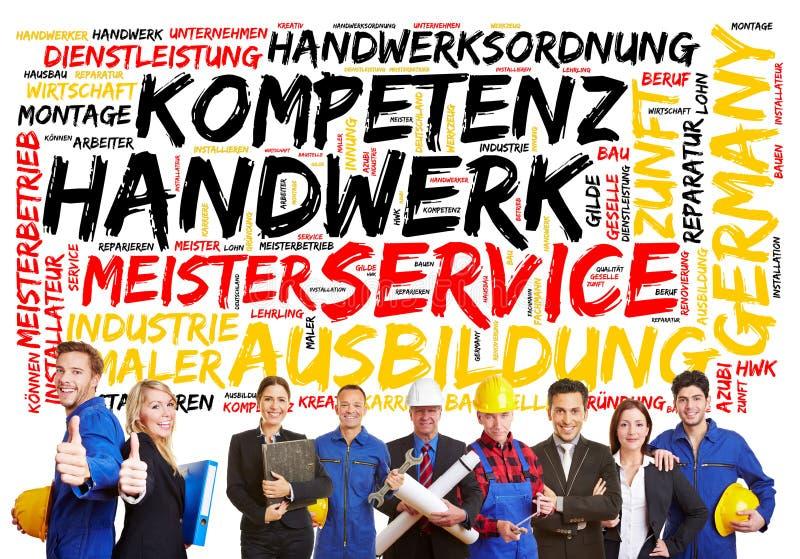 德国概念的工匠用德语 免版税库存照片