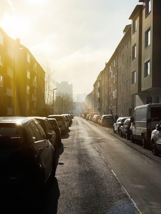 德国汉诺威日落垂直照 库存照片