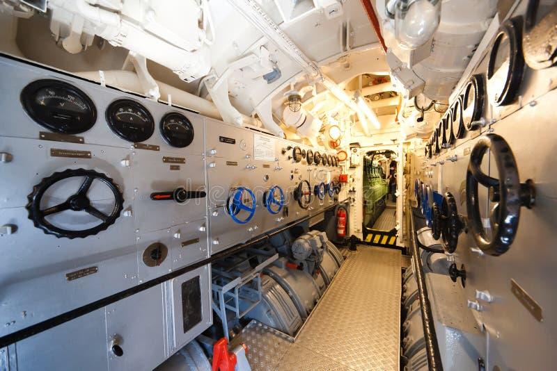 德国潜水艇-电机舱 图库摄影