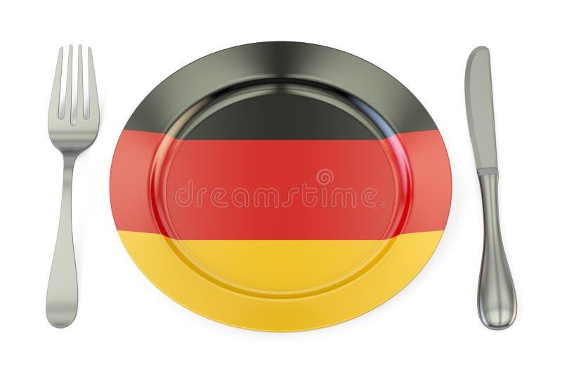 德国烹调概念,有德国的旗子的板材 3d翻译 向量例证