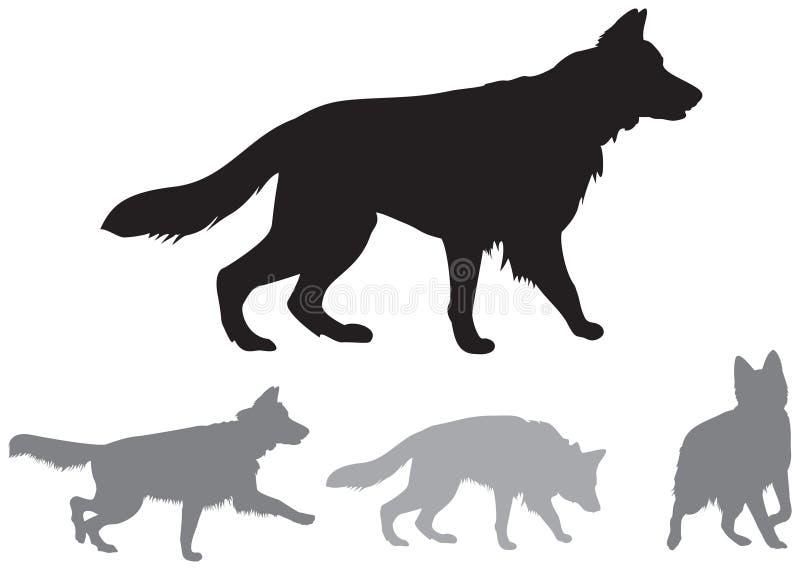 德国牧羊犬动态传染媒介剪影 库存例证