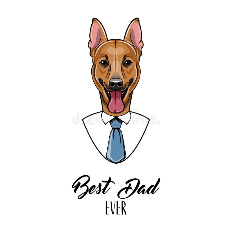 德国牧羊犬爸爸 父亲节贺卡 在上写字最佳的爸爸 精神衬衣,领带 向量 皇族释放例证
