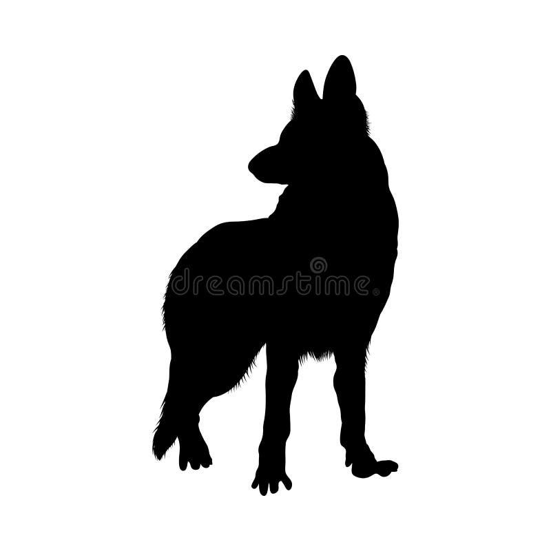 德国牧羊犬狗剪影 皇族释放例证