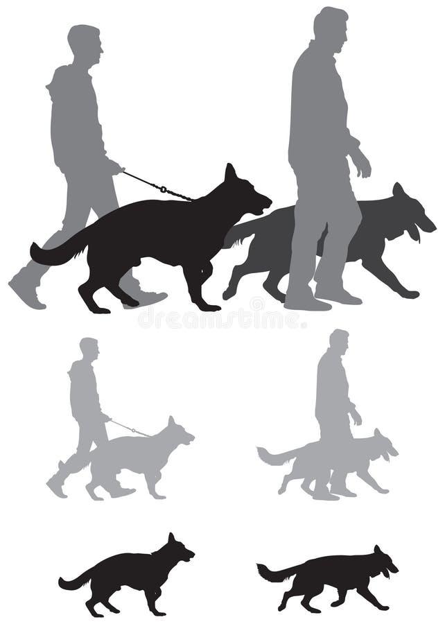 德国牧羊犬狗展示剪影 库存例证
