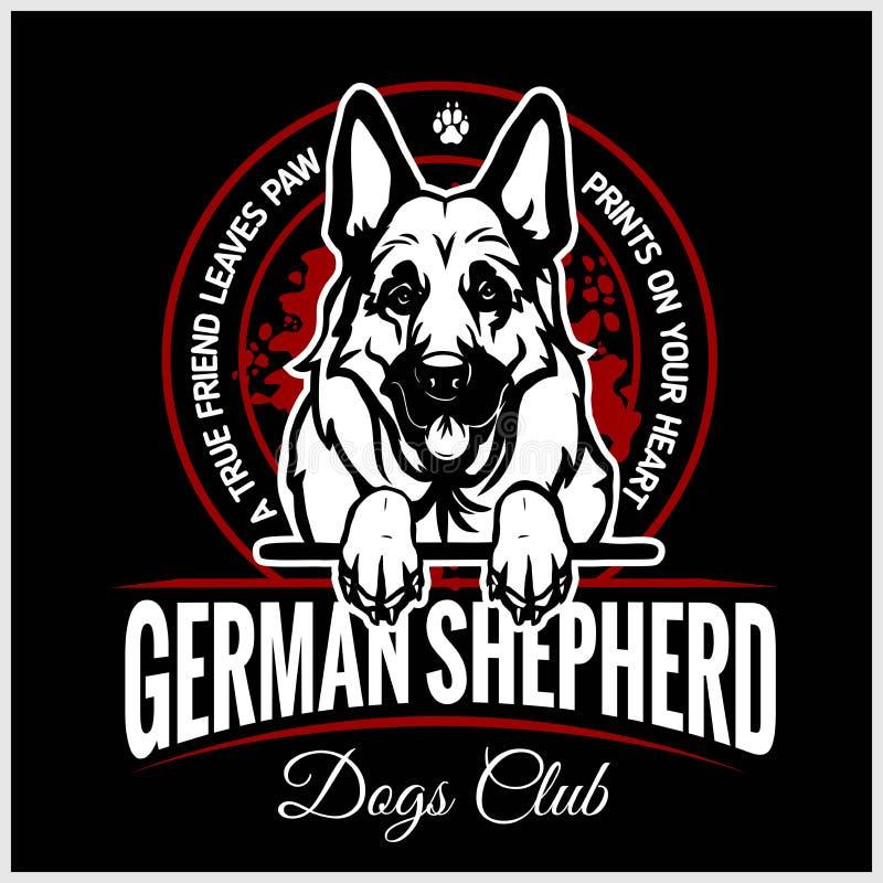 德国牧羊犬- T恤杉、商标和模板徽章的传染媒介例证 皇族释放例证