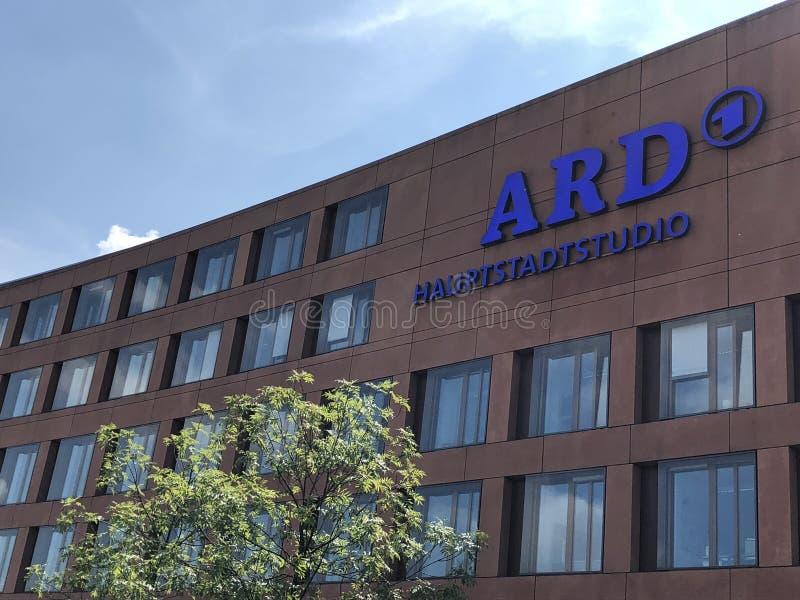 德国电视频道ARD的电视演播室在首都柏林的 免版税图库摄影