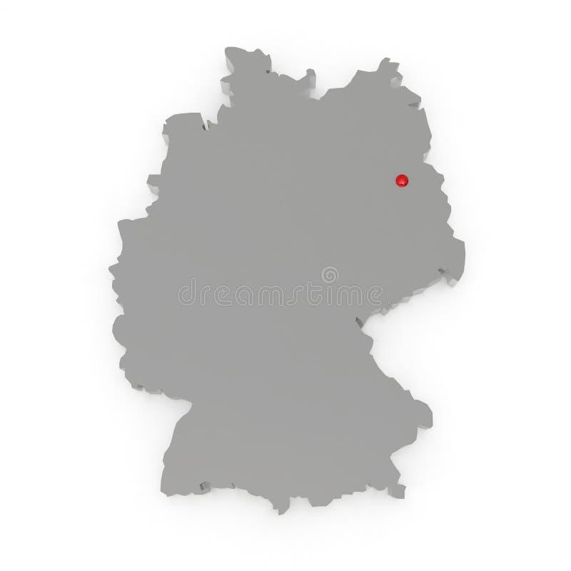 德国的三维地图。 向量例证