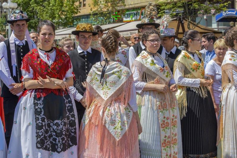 德国的兹瓦本地方民间服装的游行,Timioara,罗马尼亚 免版税图库摄影