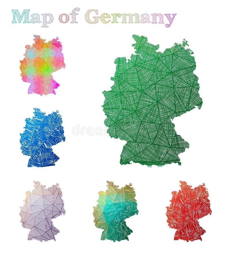 德国的手拉的地图 向量例证