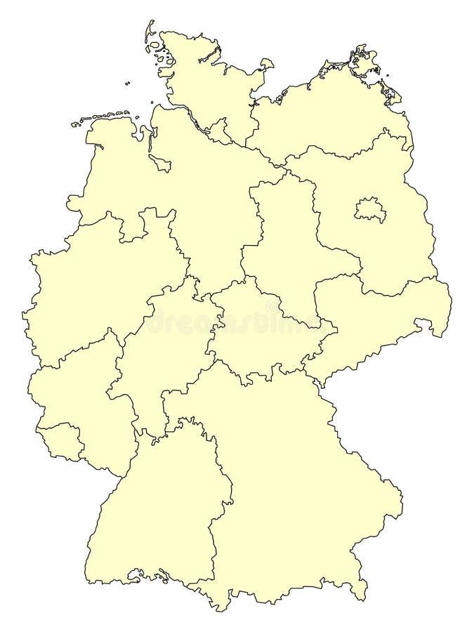 德国的黄色地图有在白色背景隔绝的联邦政府的边界的 向量例证