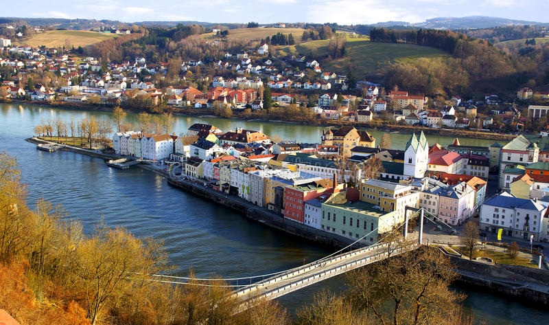 德国美丽如画全景的passau 免版税库存照片