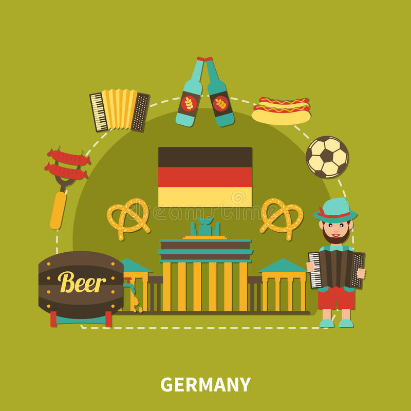德国观光的旅行构成 向量例证