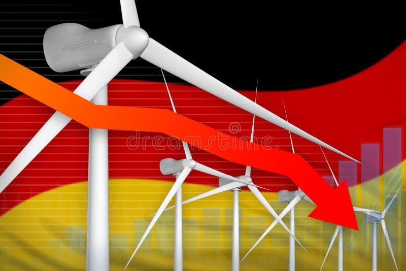 德国降低图,在-环境自然能工业例证下的箭头的风能力量 3d例证 向量例证