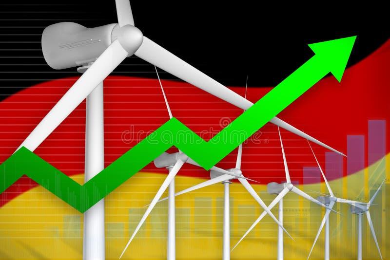 德国风能力量上升的图,-绿色自然能工业例证的箭头 3d例证 皇族释放例证