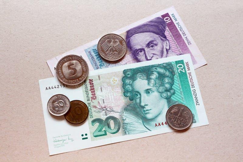 德国马克,老货币 免版税图库摄影