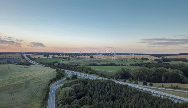 德国高速公路的鸟瞰图 库存图片