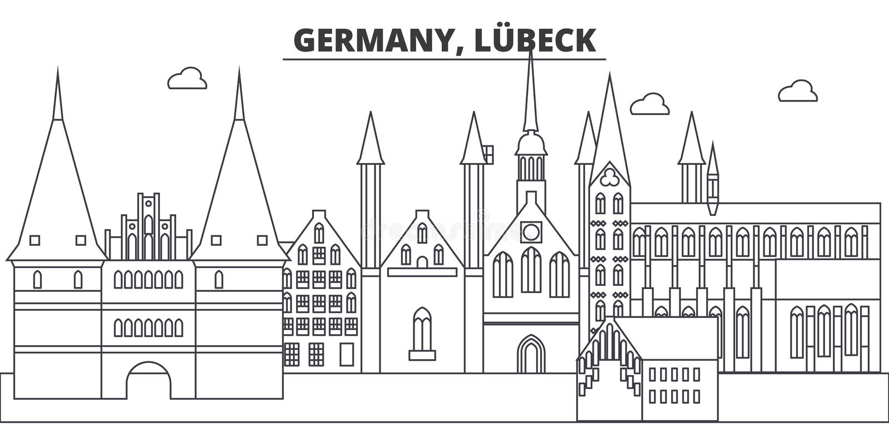 德国,吕贝克线地平线传染媒介例证 与著名地标的德国,吕贝克线性都市风景,城市视域 向量例证