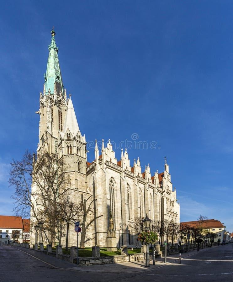 德国,图林根州, Muhlhausen,我们的夫人教会  免版税图库摄影