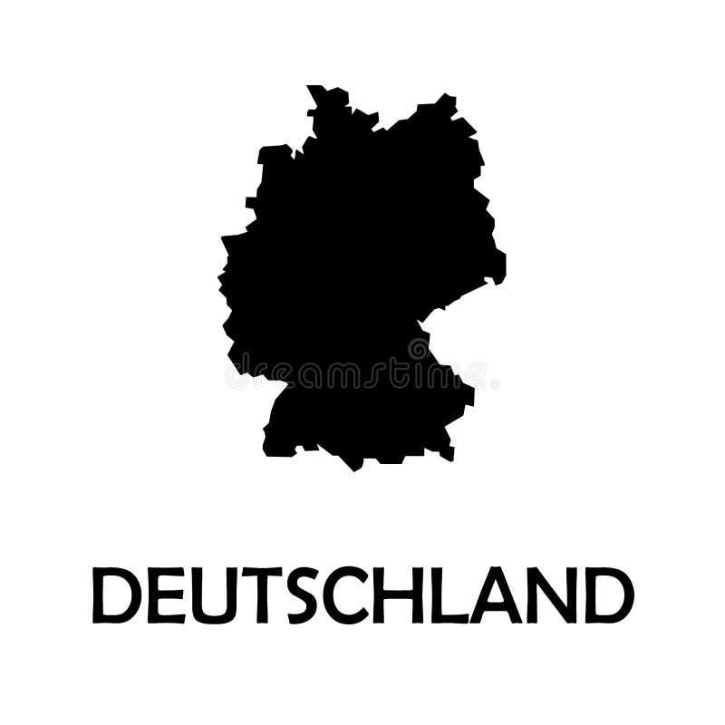 德国,德国黑色国家边界地图 库存例证