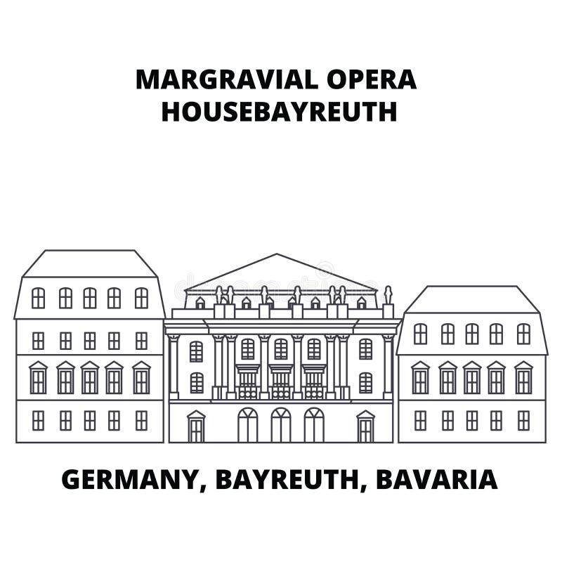德国,拜罗伊特,巴伐利亚, Margravial歌剧Housebayreuth线象概念 德国,拜罗伊特,巴伐利亚, Margravial 向量例证