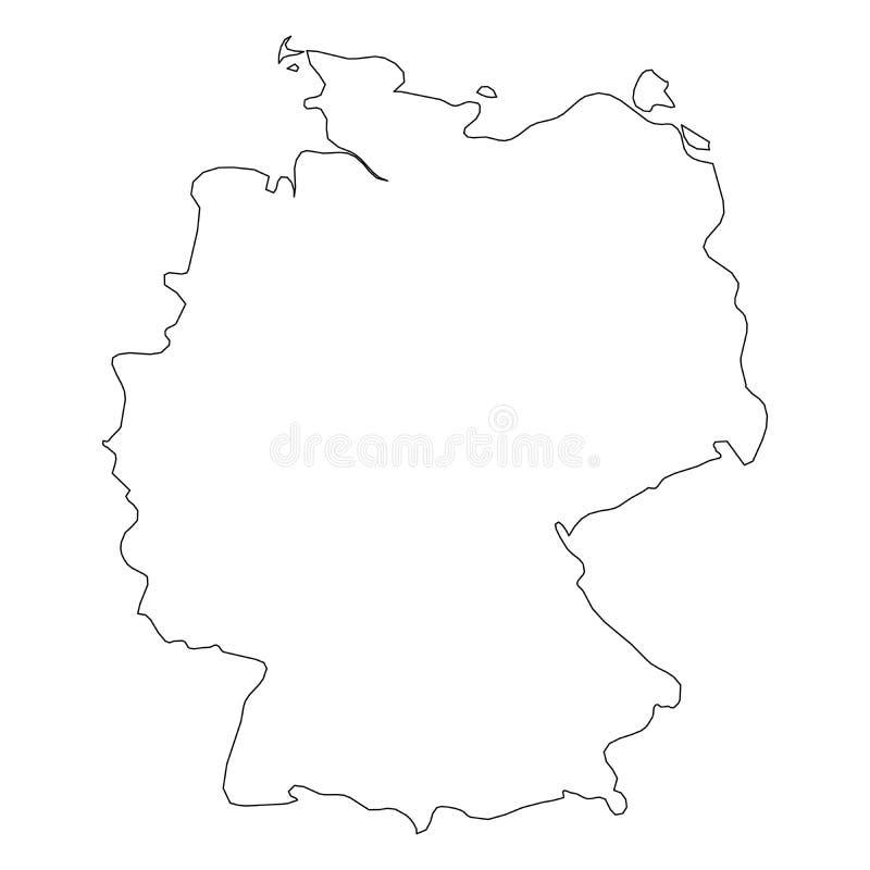 德国-国家区域坚实黑概述边界地图  简单的平的传染媒介例证 皇族释放例证