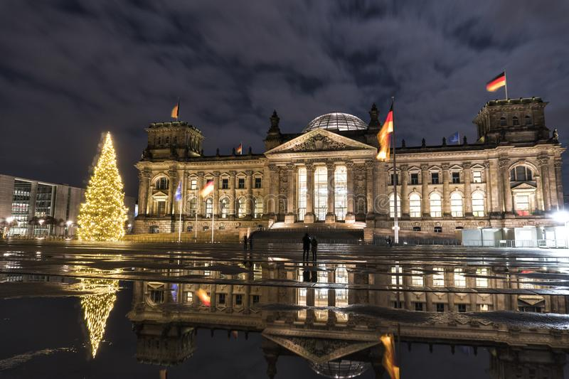德国 联邦议会在柏林在圣诞夜 免版税库存图片