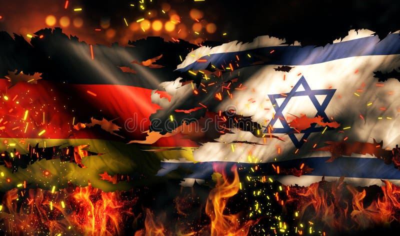 德国以色列旗子兵连祸结的火国际冲突3D 库存例证