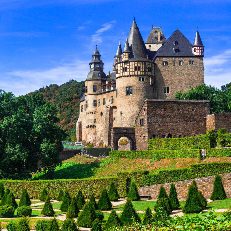 德国- Burresheim中世纪城堡在莱茵瓦尔 库存照片