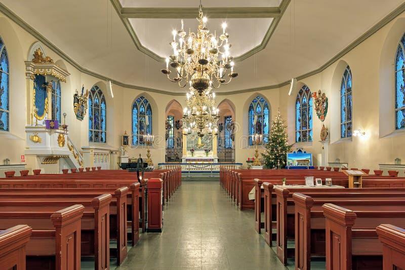 德国Christinae教会的内部在哥特人,瑞典 免版税库存照片