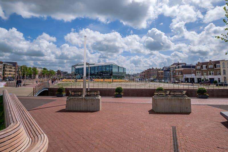 德尔福特,从新的Bolwerk的荷兰新的市政厅的看法  免版税库存图片