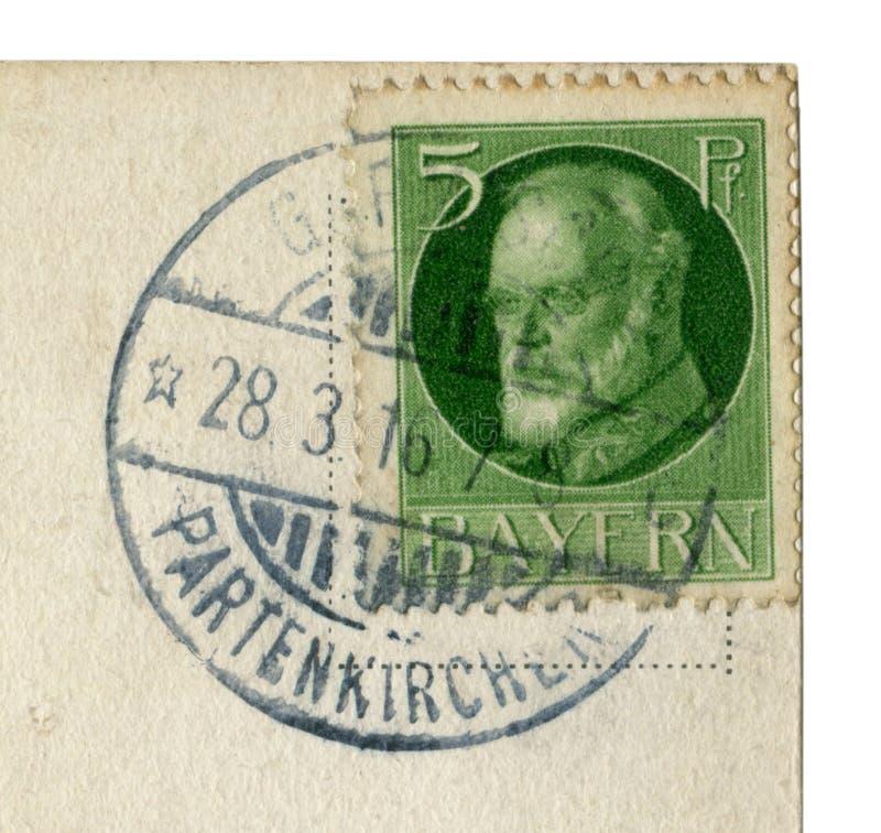 德意志帝国-大约1916年:巴法力亚德国历史邮票:巴伐利亚路德维希的最后国王III,28日行军1916年,Garmisch-Partenk 库存照片